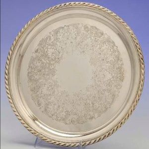 Vintage WM ROGERS #471 Round Silver Serving Tray